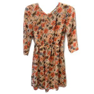 Mimi Chica Laceup Dress ~  Peach Floral  S